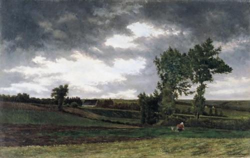 Edmond De Schampheleer , Landschap met wiedster , 1824.