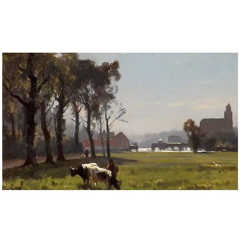 Lazy Sunny Day' by Belgian Painter Edmond De Schampheleer For Sale.