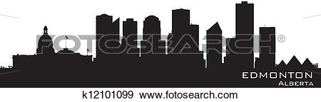 Clip Art of Edmonton, Canada skyline. Detailed silhouette.