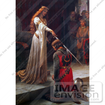 Photo of a Long Haired Maiden Holding a Sword Over a Man During a.