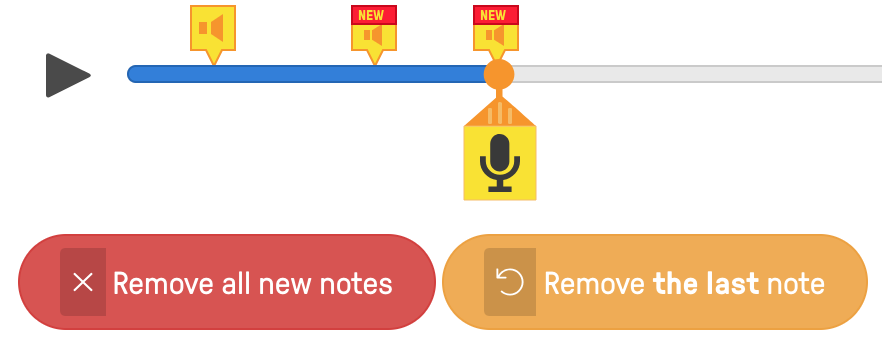 How do I delete a question, audio note or voiceover.
