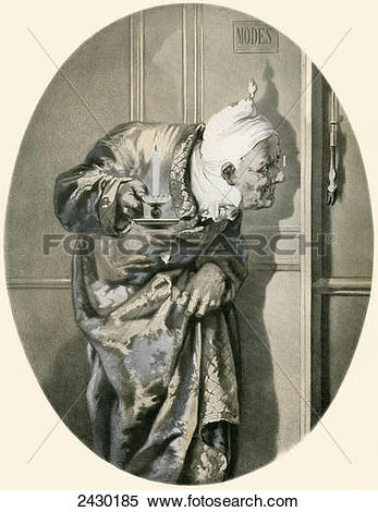 Stock Image of Old man spying through keyhole. From Illustrierte.