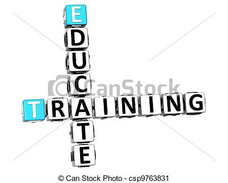 Clipart of 3D Educate Training Crossword on white background.