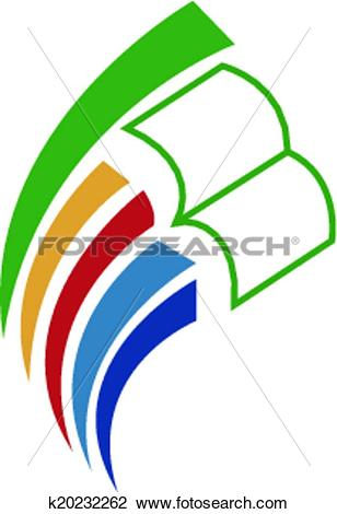 Clipart of book & educate logo icon k20232262.