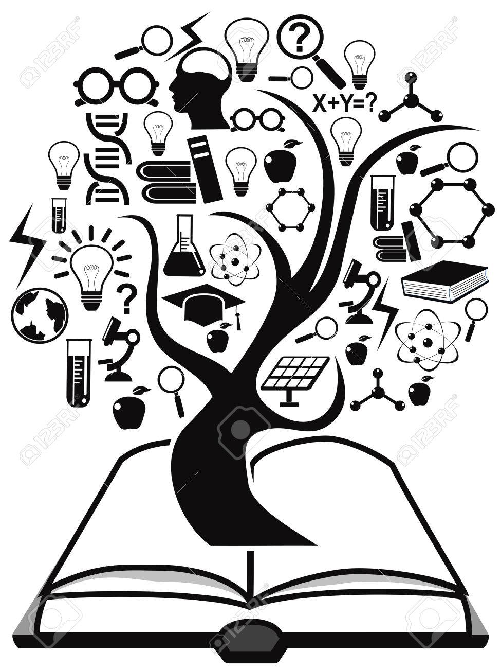 isolated black education icons tree up from book on white background.