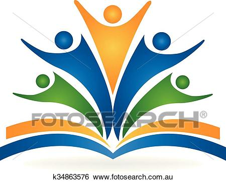 Book teamwork education logo Clip Art.