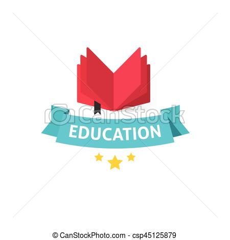 Education emblem vector illustration, open book with education text on blue  ribbon.