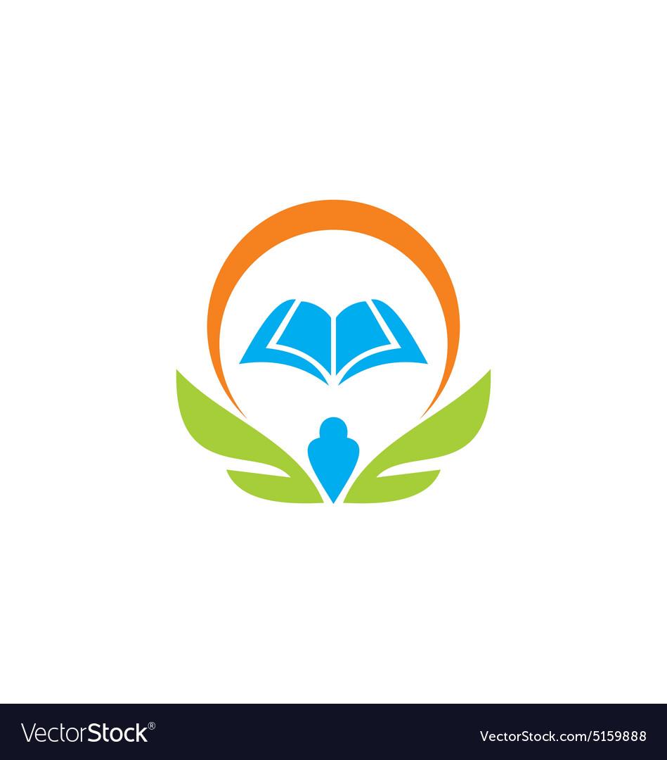 Education book wing school learn logo.