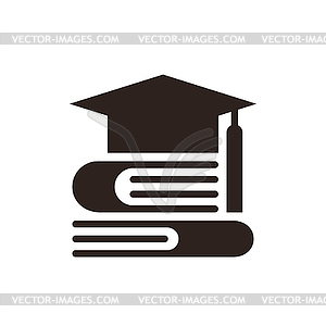 Cap and books, Education symbol.