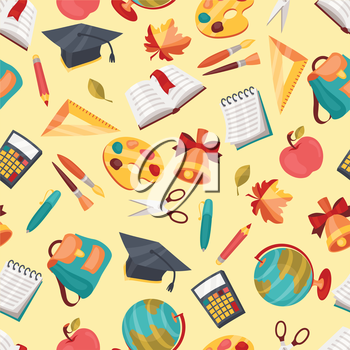 School seamless pattern with education icons and symbols.