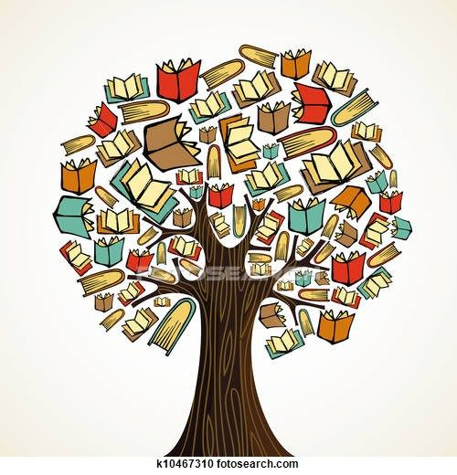 Education concept tree with books Clipart.