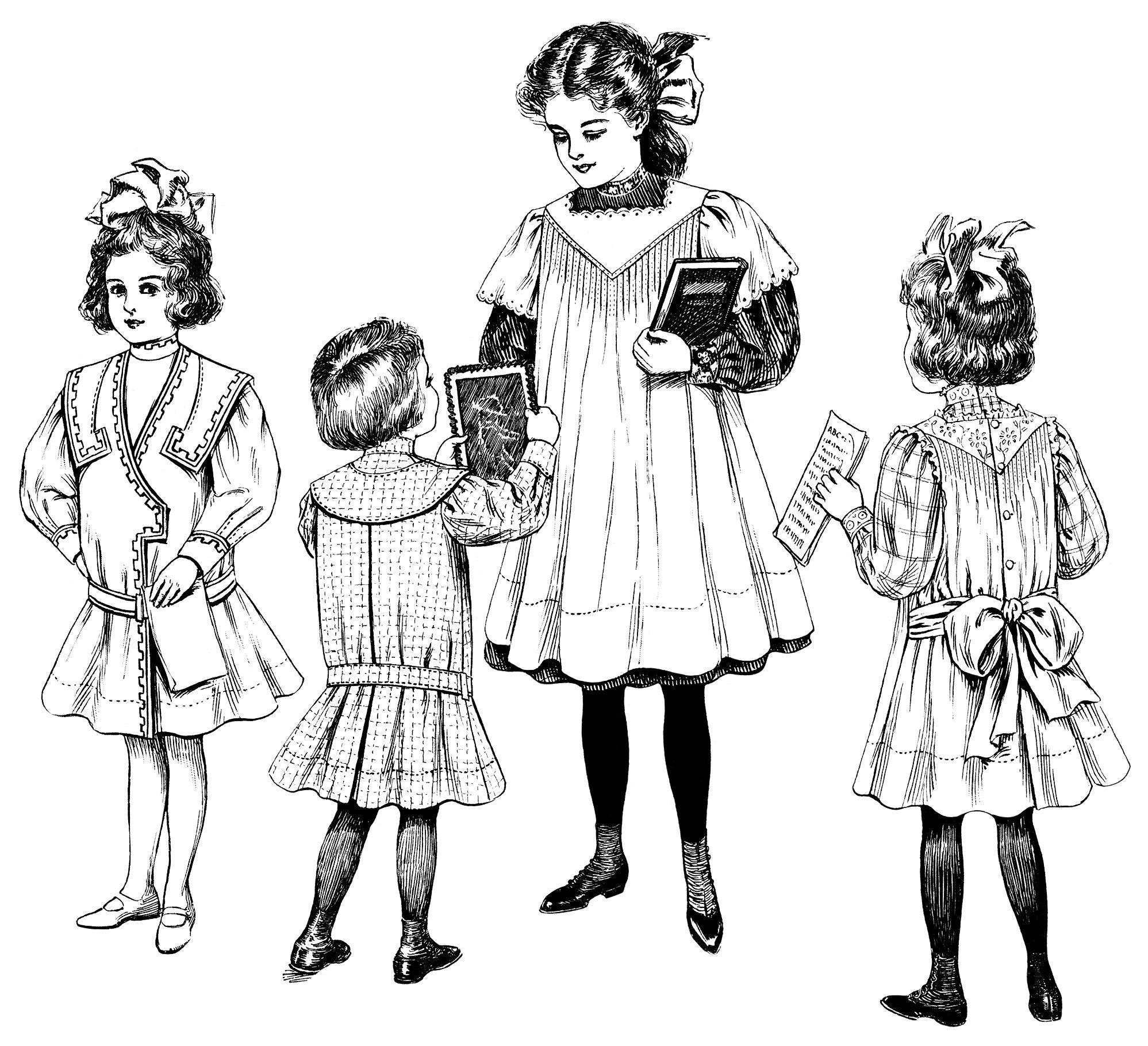 vintage children clip art, Edwardian girls fashion, free black and.