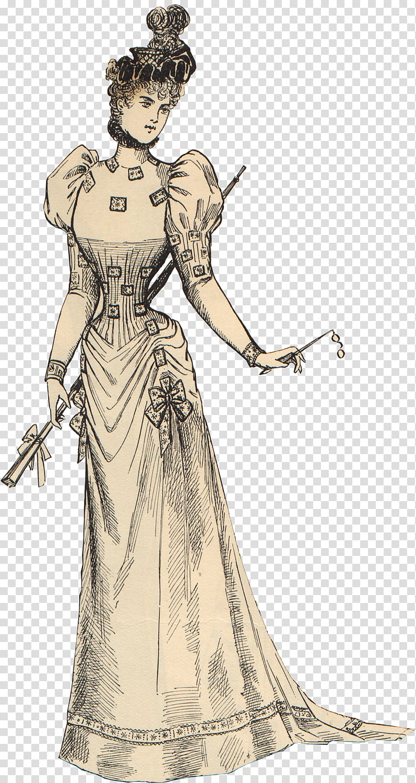 Woman wearing traditional dress , Victorian era Edwardian era.