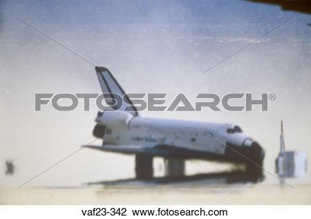 Stock Photo of Space shuttle landing at Edwards Dry Lake, Edwards.