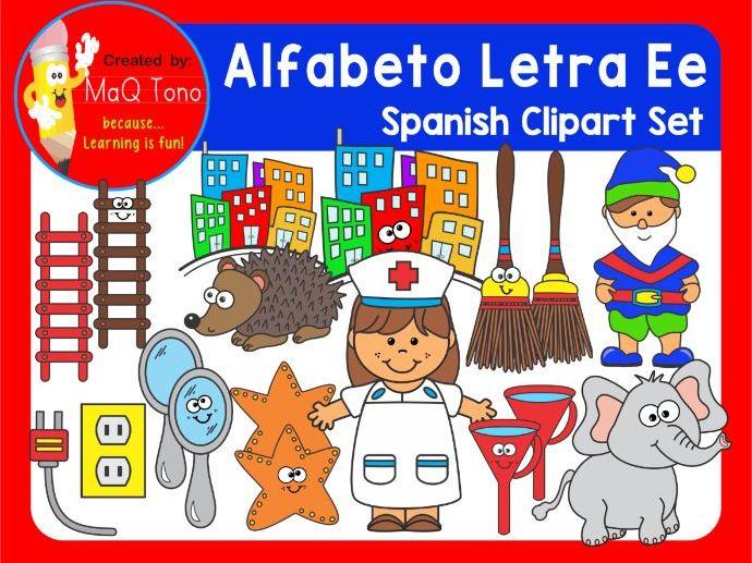 SPANISH Alphabet Letter Ee Phonics Clipart Set  ALFABETO Letra Ee.