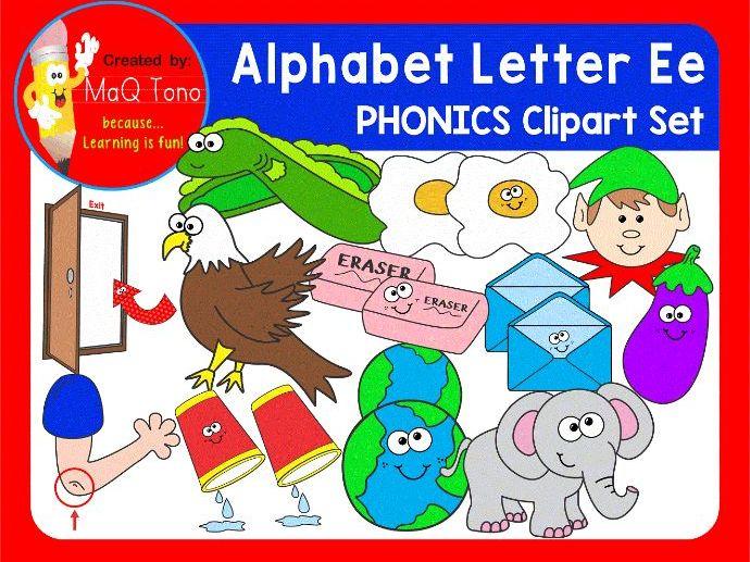 Alphabet Letter Ee Phonics Clipart Set.