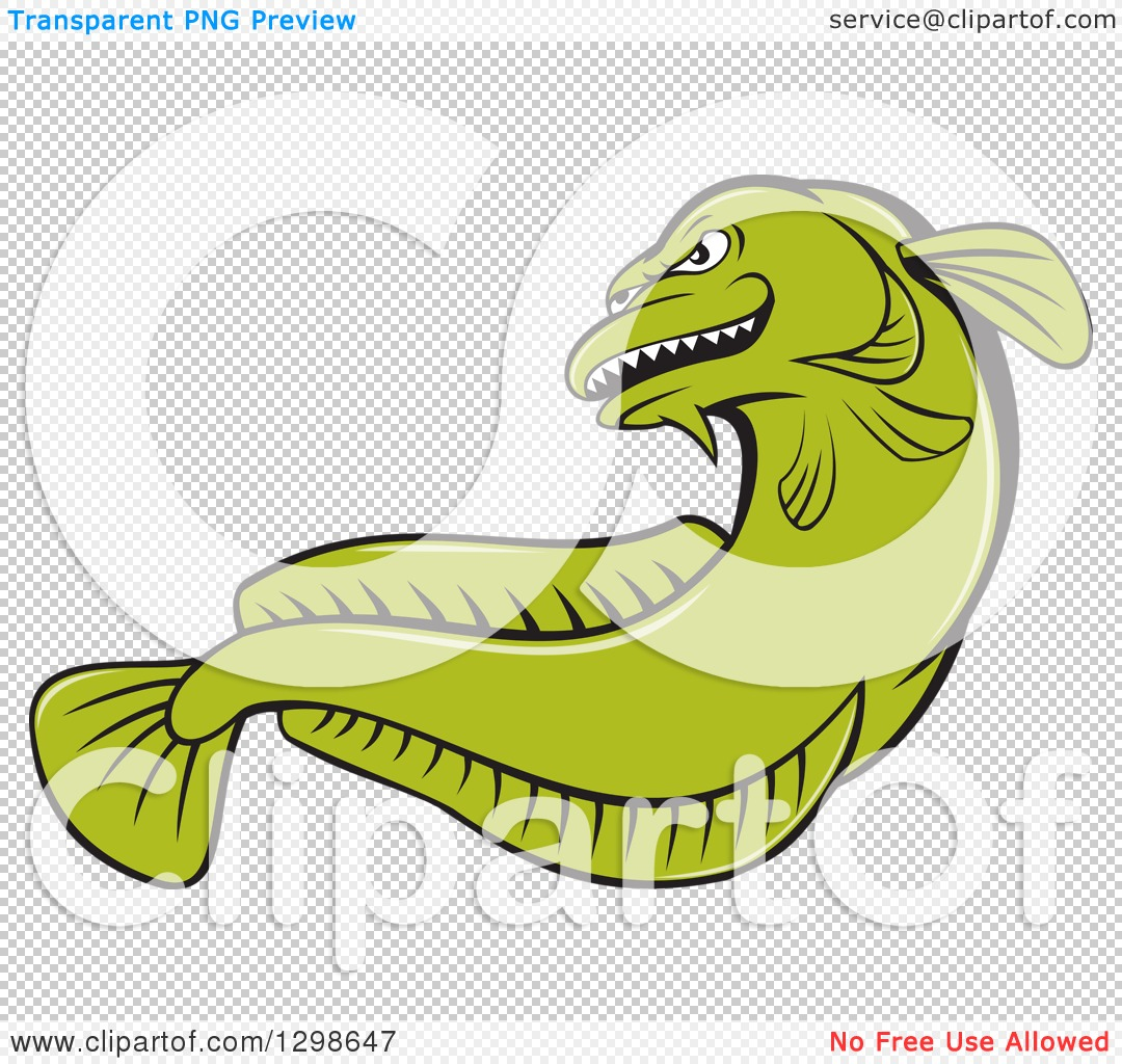 Clipart of a Cartoon Green Angry Burbot Fish.