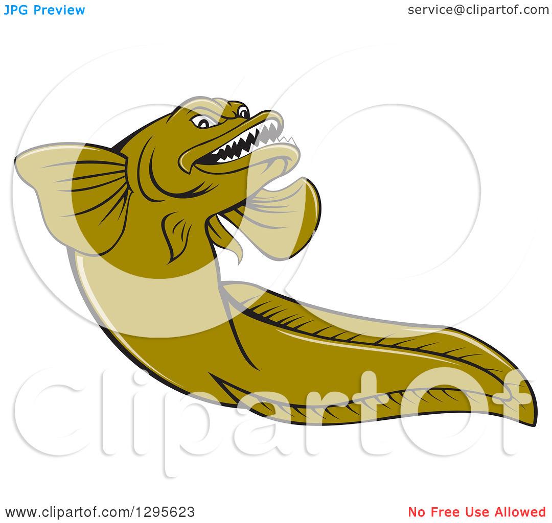 Clipart of a Cartoon Green Eelpout Fish.