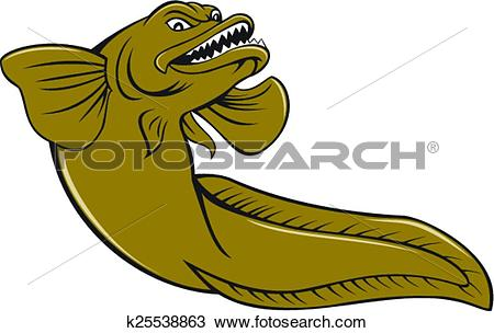 Clipart of Eelpout Fish Angry Cartoon k25538863.