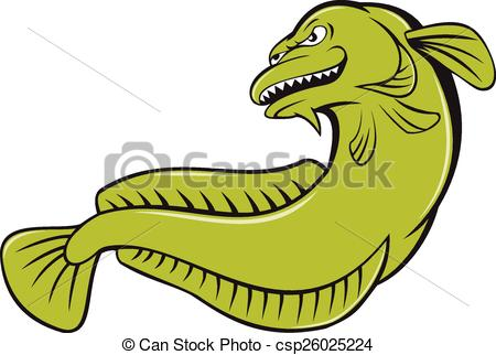 Vector of Cod fish cartoon.