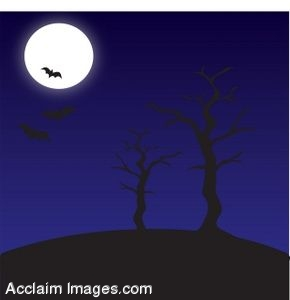 Clipart of An Eerie Halloween Background.