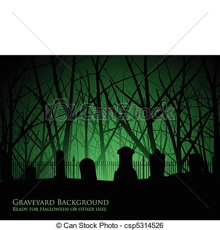 Clip Art Vector of Graveyard and trees background.