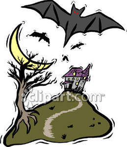 Bats Flying over a Haunted House on a Hill Royalty Free Clipart.