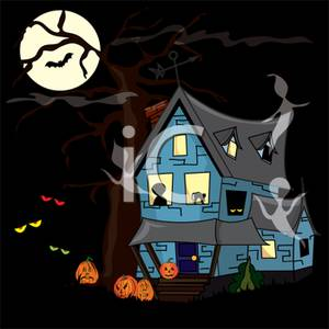 Art Image: A Haunted House Under a Full Moon.