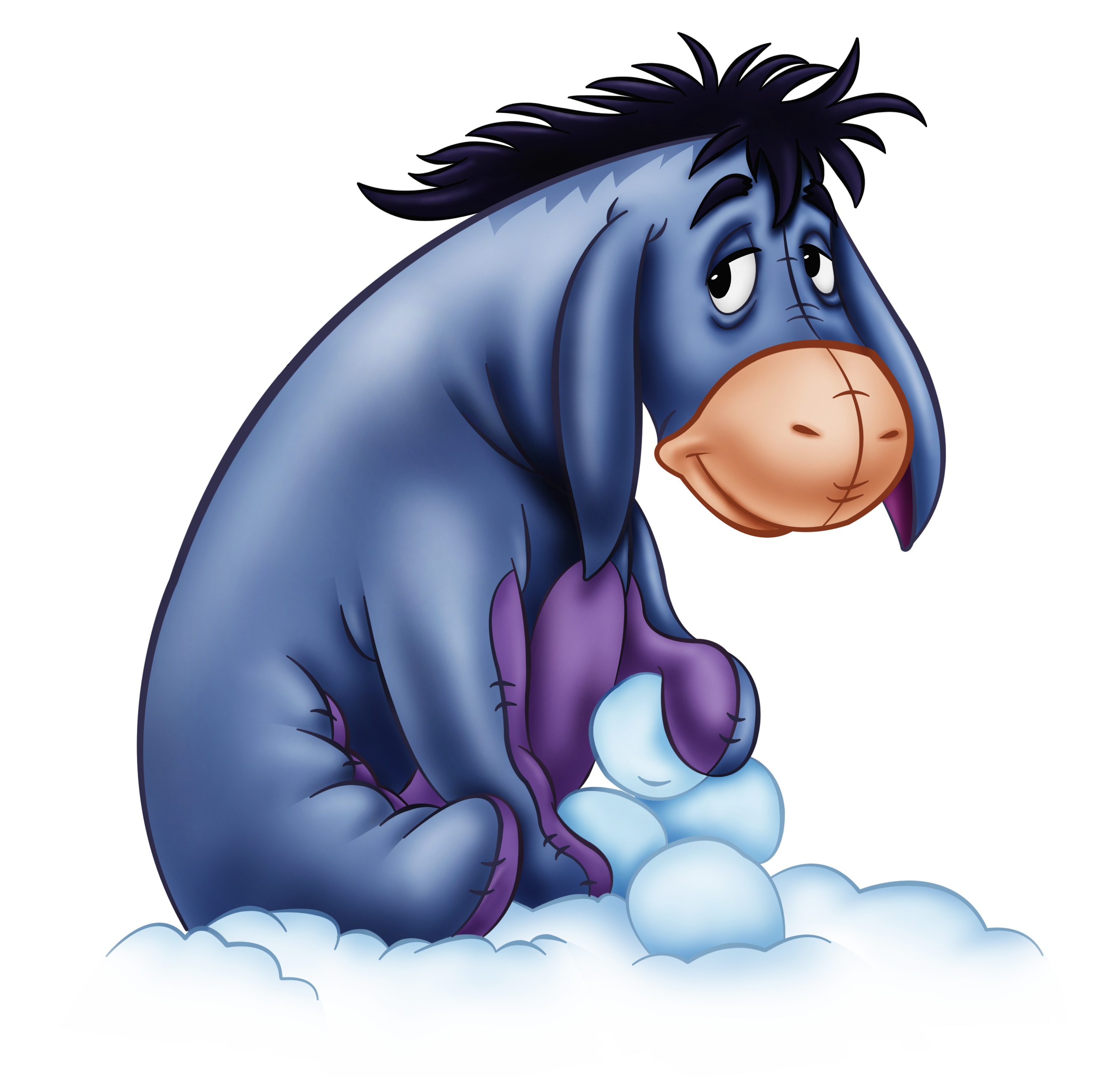 Eeyore with Snowballs PNG Transparent Cartoon.