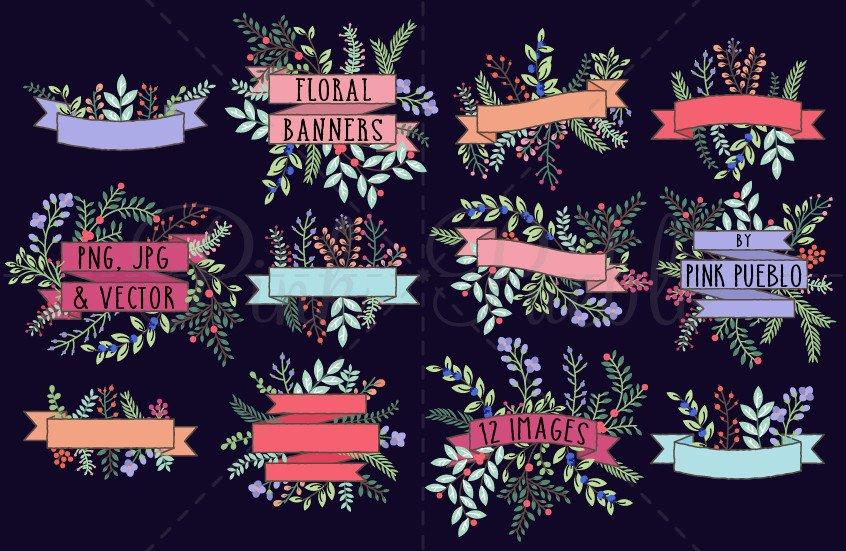 Vintage Floral Banner Clipart.