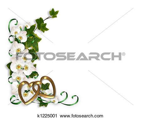 Clip Art of Wedding invitation Red Rose Border k1689892.