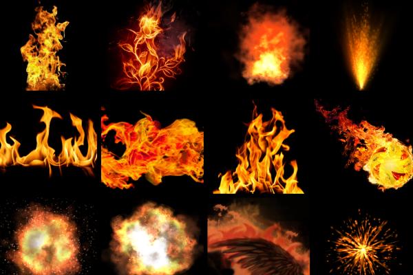 Mentahan efek api PNG.