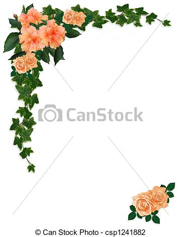 Clip Art of Ivy, Hibiscus and Roses Floral.