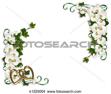 Clipart of Orchids and Ivy Border k1225001.