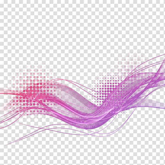 Purple wave lines light effect transparent background PNG.