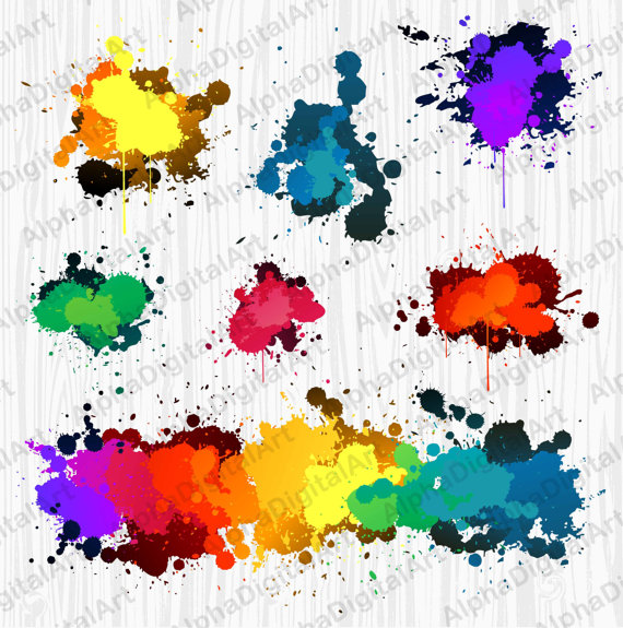7 Rainbow Splashes Clipart,Blur clipart,Photoshop effects.