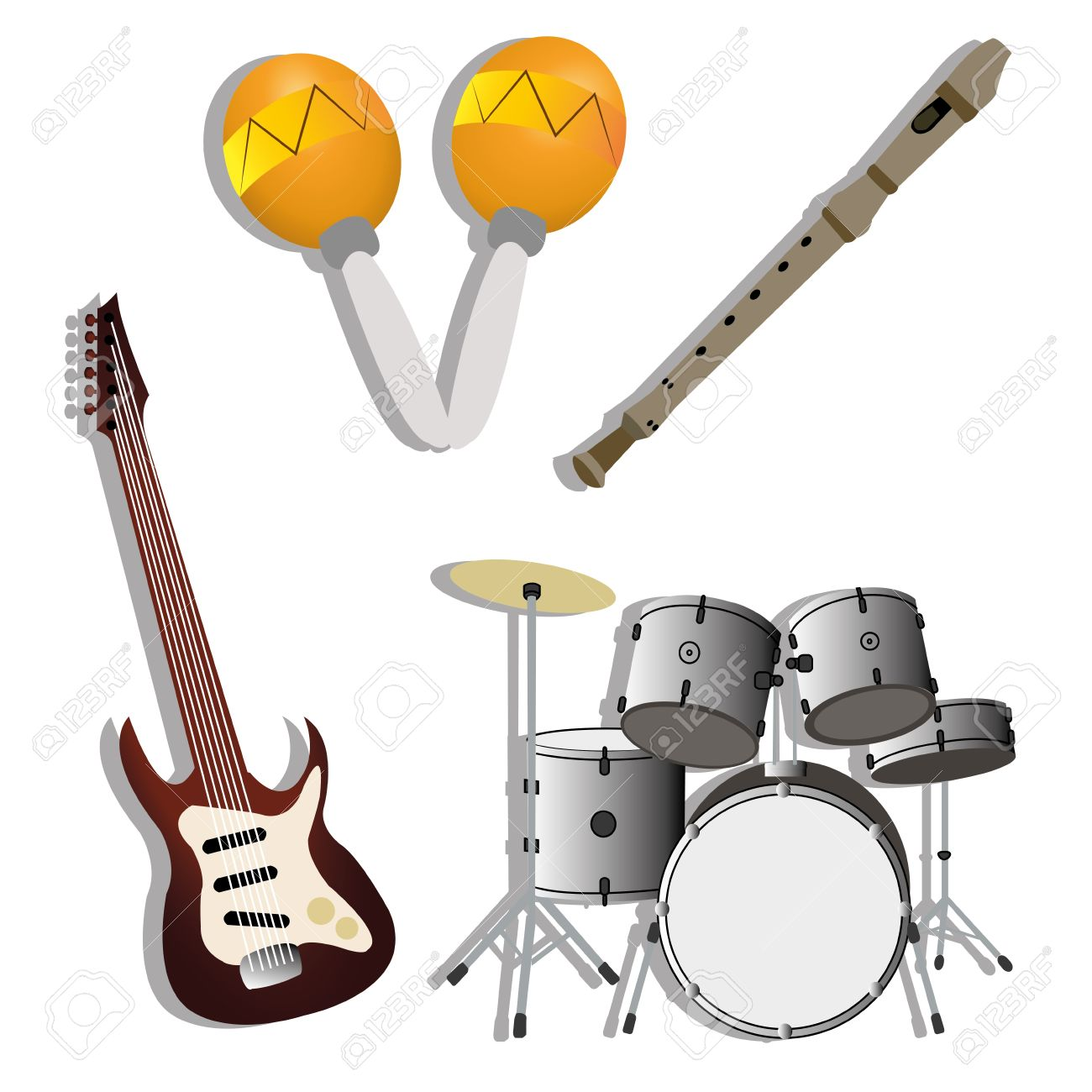 Different Music Instruments With Shadow Effect On White Background.