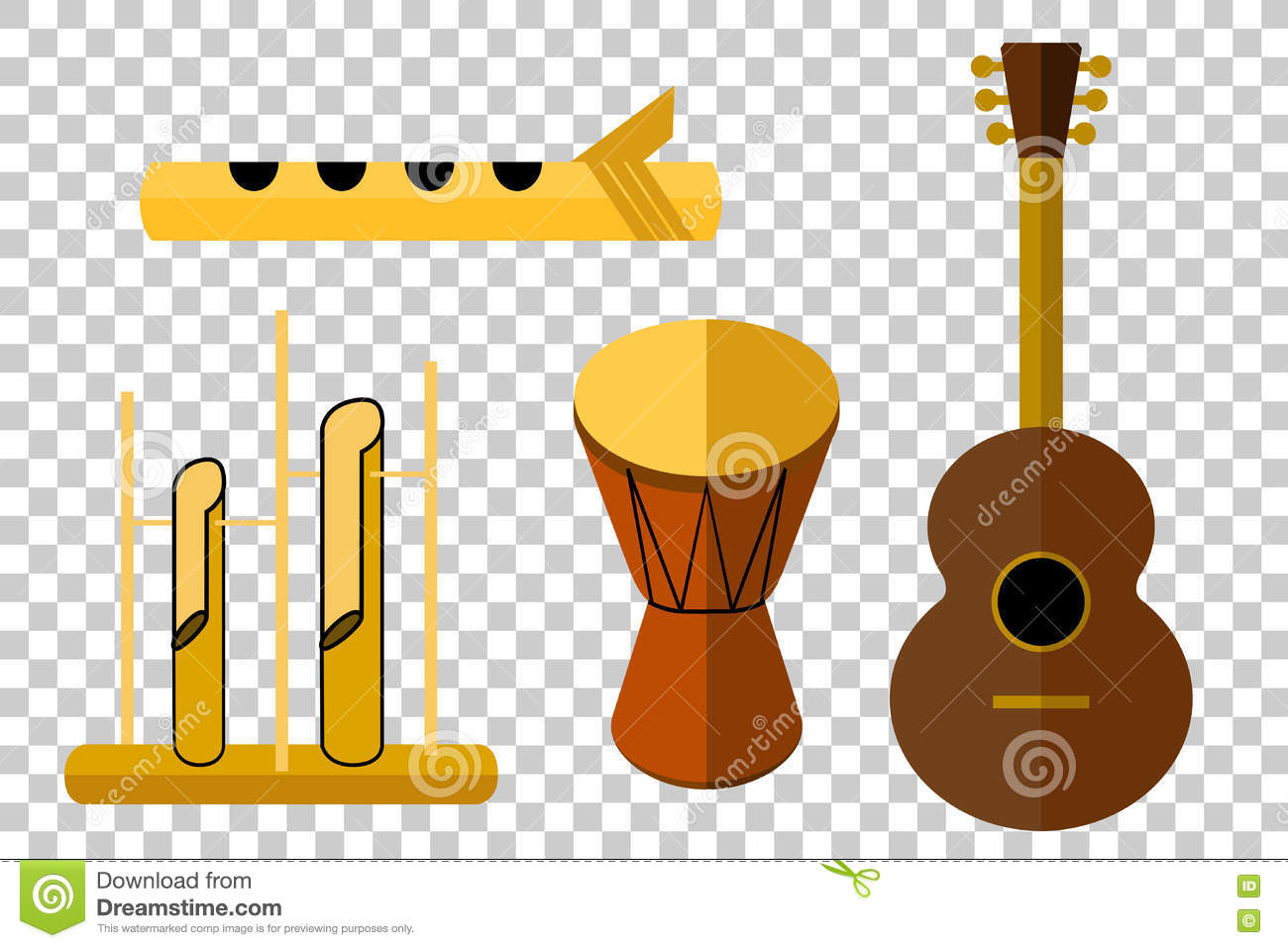 Flat Icon Of Acoustic Music Instrument, At Transparent Effect.