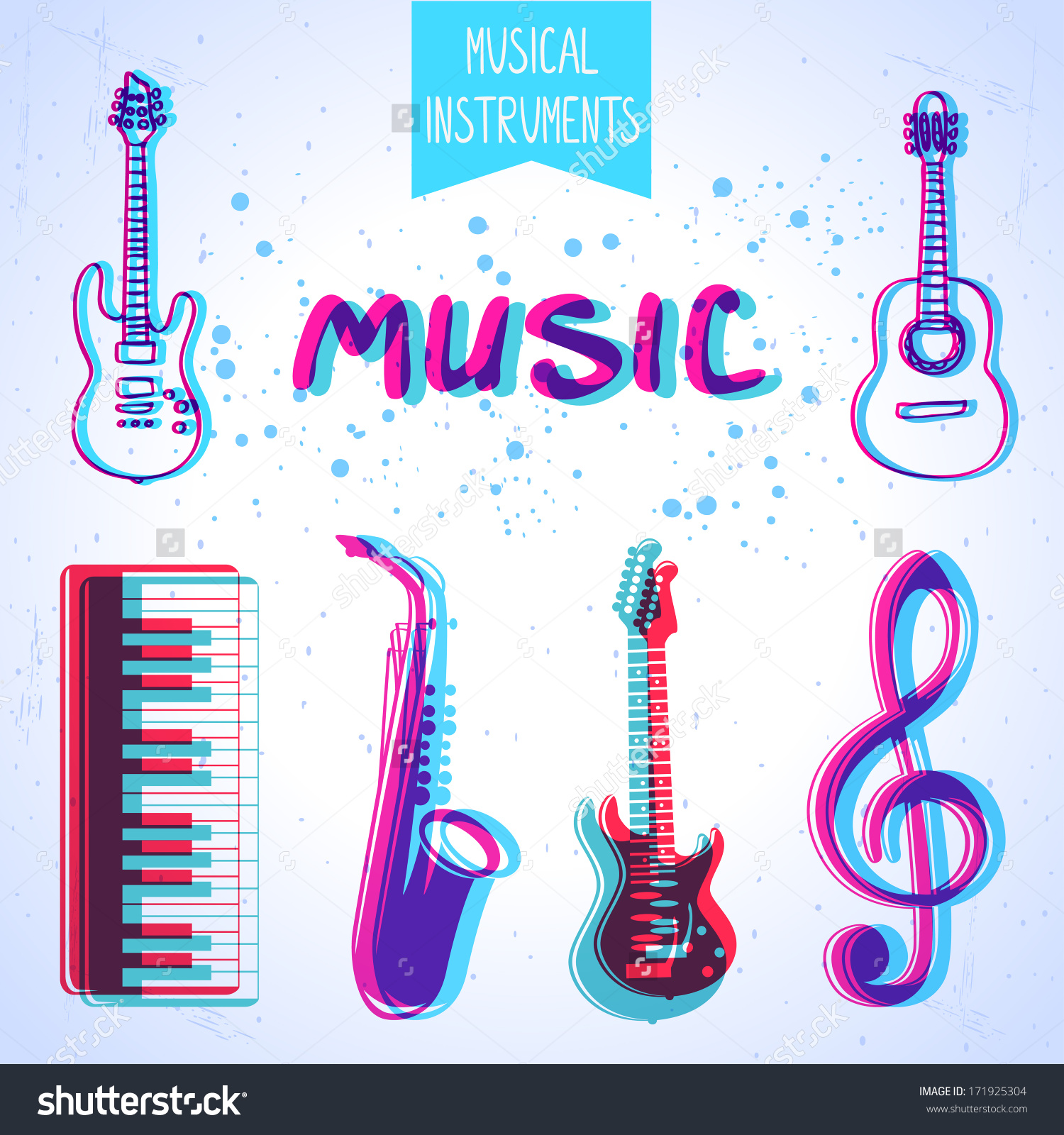 Icons Musical Instruments Stylized Effect 3d Stock Vector.