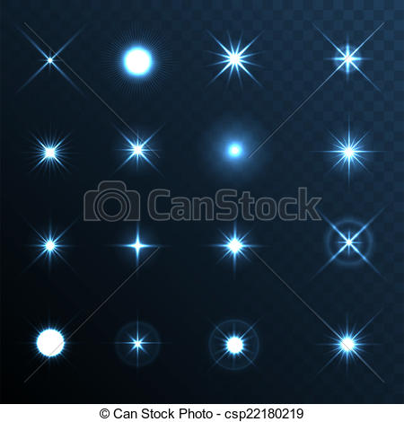 Vector Clip Art of Light Glow Flare Stars Effect Set. Vector.