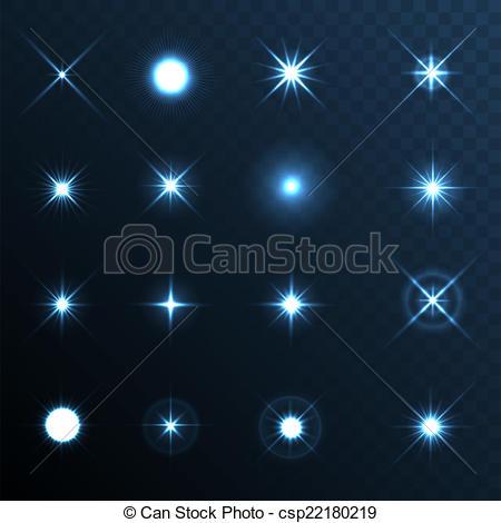 Vector Clip Art of Light Glow Flare Stars Effect Set. Vector.