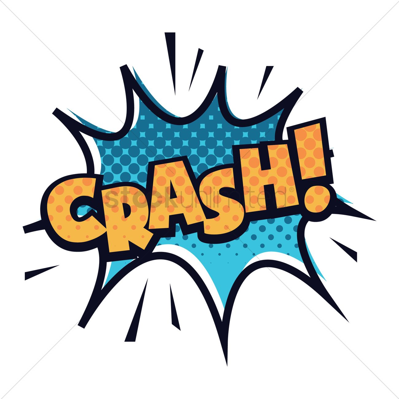 Crash text with comic effect Vector Image.