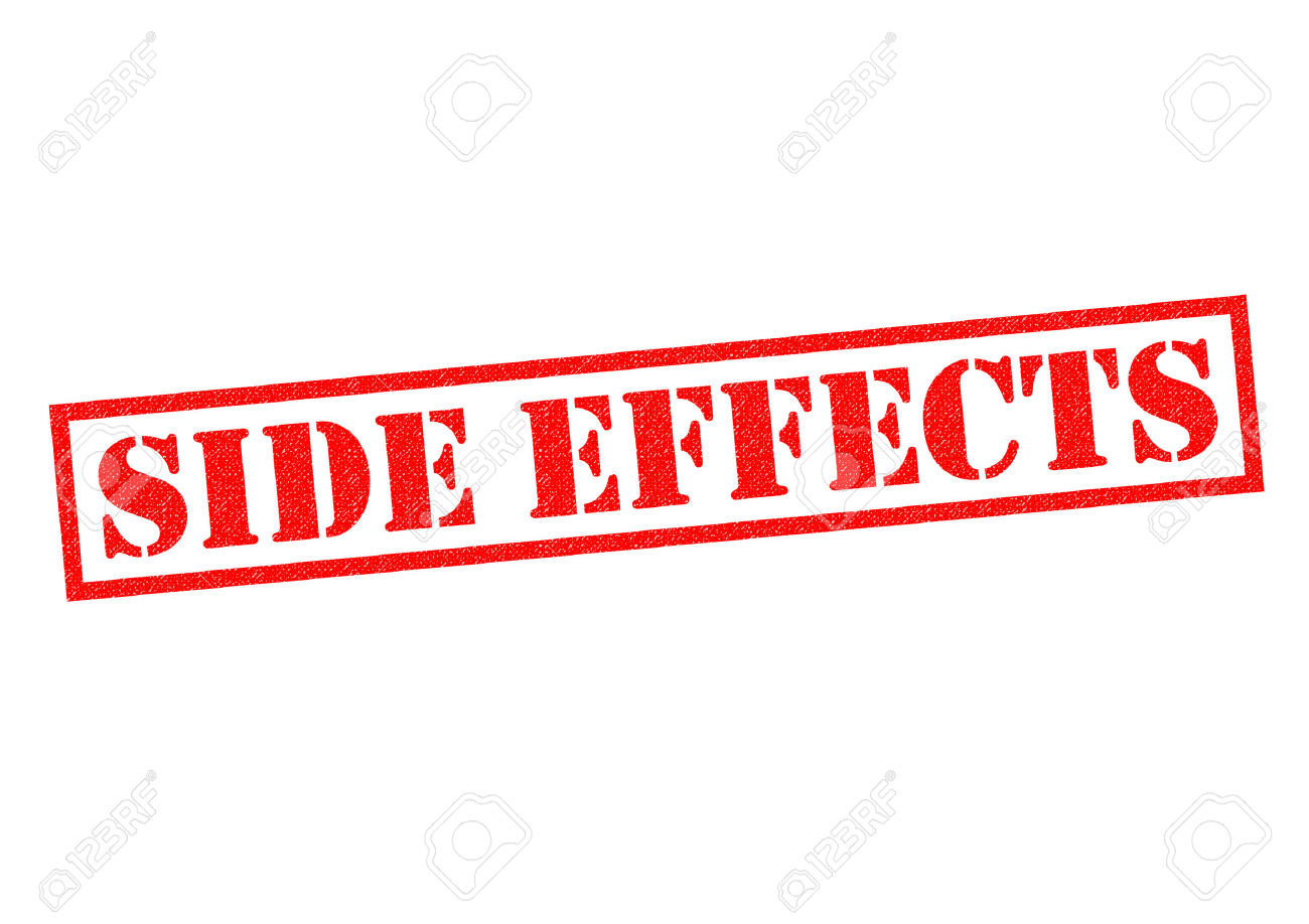 SIDE EFFECTS Red Rubber Stamp Over A White Background. Stock Photo.