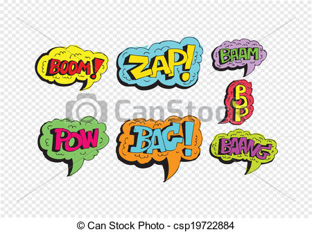 Vector of multicolored comic sound Effects Speech Bubble Cartoon.