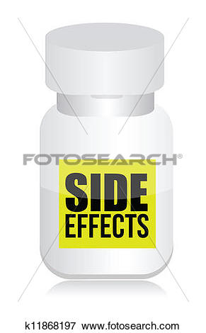 Clip Art of pills with side effects sign k11868197.