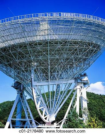 Stock Photography of Effelsberg radio telescope of Max Planck.