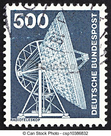 Stock Photos of Postage stamp Germany 1976 Effelsberg Radio.