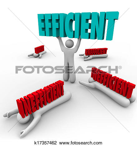 Clip Art of Efficient Vs Inefficient Words Man Lifting Word Others.
