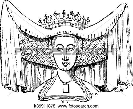 Clip Art of Costume woman in the fifteenth century, after the.