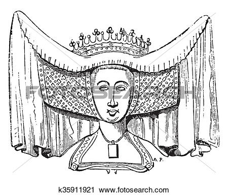Clipart of Costume woman in the fifteenth century, after the.